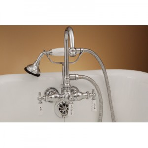 Gooseneck Clawfoot Tub Faucet with Hand Held Shower